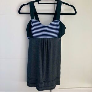 Lululemon tank with lilac striped bra and cutouts